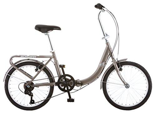 Schwinn Loop Adult Folding Bike, 20-inch Wheels, Rear Carry Rack, Silver