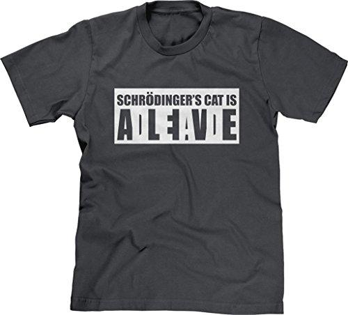 Blittzen Mens T-Shirt Schrodinger's Cat Alive Dead, M, Charcoal