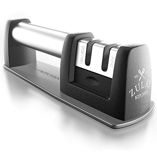 Universal Knife Sharpener for all Types of Knives, Fast and Safe 2-Stage Tungsten Design Restores, Sharpens & Fine Tunes Dull Knives Easily - Best for Straight & Serrated Knives - by Zulay Kitchen