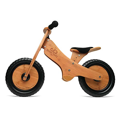 Kinderfeets, Bamboo Balance Bike, Adjustable Seat, Puncture Proof Tires, Pedal - Free Training Bicycle for Kids and Toddlers - Brown