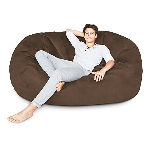 Lumaland Luxury 6-Foot Bean Bag Chair with Microsuede Cover Brown, Machine Washable Big Size Sofa and Giant Lounger Furniture for Kids, Teens and Adults