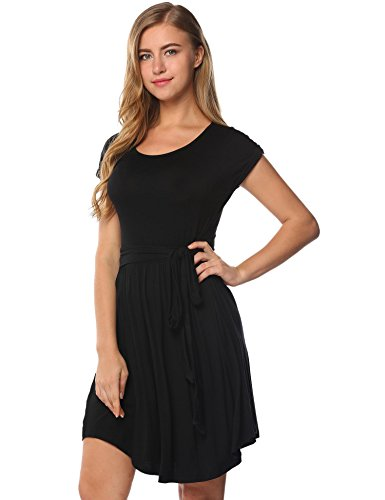 ACEVOG Women's Crew Neck Short Sleeve Casual Solid Pleated A Line Flowy Dress with Belt