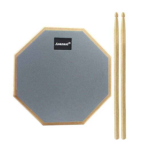 WeiMeet Drum Pad 12 Inches Drum Practice Pad Silent Drum Pad with 1 Pair Drum Sticks