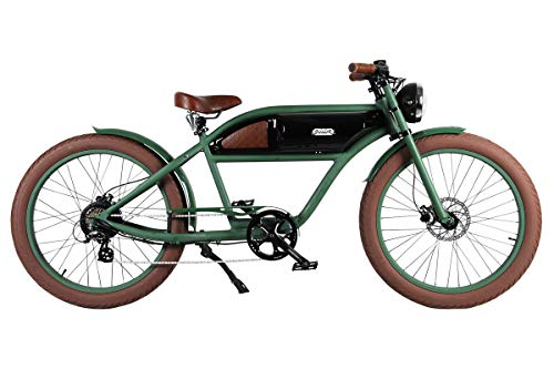 "T4B Michael Blast Greaser Retro eBike Electric Bicycle Bike 26"" 350W 36V - Gr/Bk"