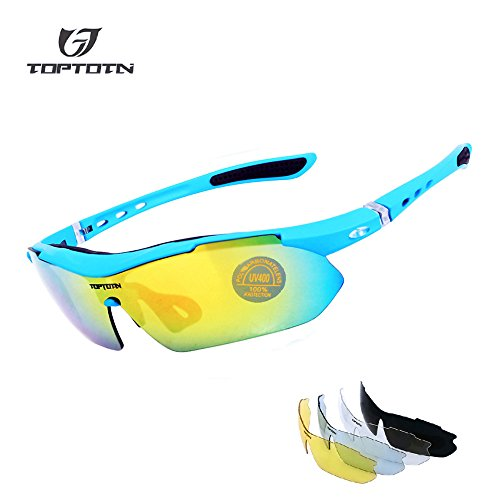 TOPTOTN Bike Polarized Motion Glasses Sports Sunglasses UV400 Protection Cycling Glasses With 5 Interchangeable Lenses for Cycling Baseball Fishing Running Driving for Men and Women (Blue)