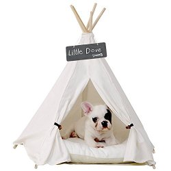little dove Pet Teepee Dog(Puppy) & Cat Bed – Portable Pet Tents & Houses for Dog(Puppy) & Cat Beige Color 24 Inch (with or Without Optional Cushion)