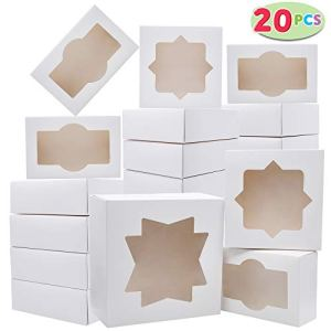 20 PCs 3-Sizes Cardboard Bakery Cookie Boxes Set with Window Auto-Popup for Christmas Cupcakes, Cookies, Brownies, Donuts, Truffles Gift-Giving. 416 2B8C4QJkL