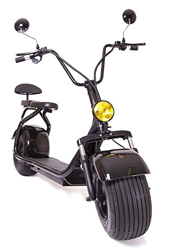 eDrift UH-ES295 2.0 32MPH Electric Fat Tire Scooter Moped with Shocks 2000w Hub Motor Harley E-Bike (Black, 12AH)
