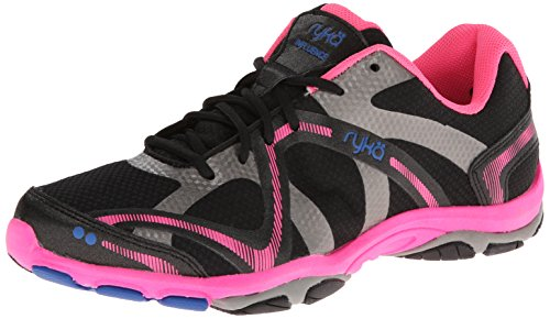 RYKA Women's Influence Training Shoe,Black/Atomic Pink/Royal Blue/Forge Grey,9.5 M US