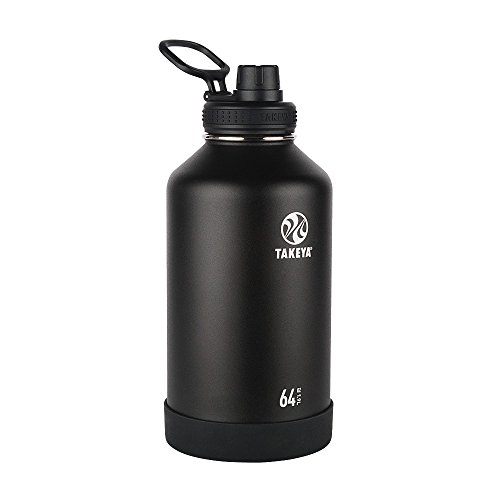 Takeya Actives Insulated Stainless Water Bottle Beer Growler with Insulated Spout Lid, 64oz, Onyx