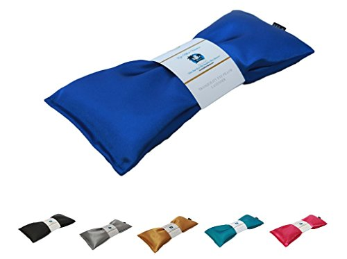 Lavender Eye Pillow - Migraine, Stress & Anxiety Relief - #1 Stress Relief Gifts For Women - Made In The USA,, Organic Flax Seed Filled! ON SALE! (Blue - Organic Cotton)