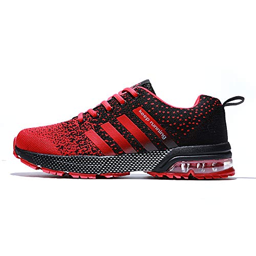 XIDISO Mens Running Shoes Air Cushion Men's Sneakers Sport Cross Training Tennis Shoe for Men Athletic Size 9.5 Red/Black