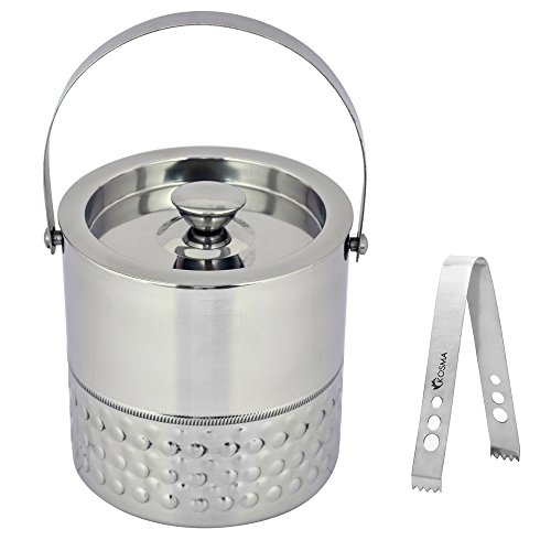 Kosma Double Wall Stainless Steel Ice bucket and Ice Tongs, 15 x 18cm – Ice Cube Bucket with Bubble Finish Perfect gifts for Thanksgiving, Christmas, Birthday, Wedding, Anniversary