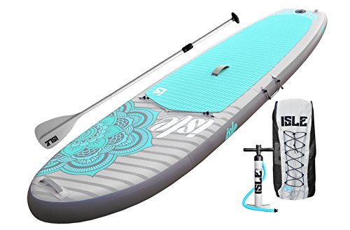 ISLE 10' Airtech Inflatable Yoga Stand Up Paddle Board (6' Thick) iSUP Package | Includes Adjustable Travel Paddle, Carrying Bag, Pump