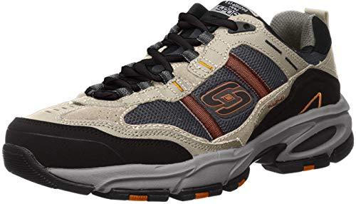 Skechers Sport Men's Vigor 2.0 Trait Memory Foam Sneaker, Taupe/Black, 10.5 M US