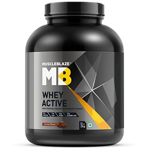MuscleBlaze Whey Active Protein Supplement Powder (Chocolate, 2 kg / 4.4 lb, 60 Servings) (Chocolate, 2 Kg / 4.4 lb)