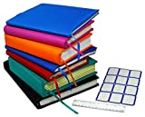 Stretchable Jumbo Book Covers 7 Pack Individual Colors Book Suits fits Hardcover Textbooks up To 9.5' X 14' Durable Washable Reusable Extras Labels and Ruler