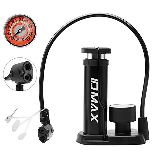 ID MAX Bike Pump, Portable Mini Bicycle Tire Pump Foot Activated Pump Tyre Inflator with Pressure Gauge Inflation Needle and Inflatable Device Valve Compatible Universal Presta and Schrader Valve