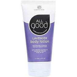 All Good Body Lotion w/ Essential Oils - Moisturizing Organic Calendula, Cocoa Butter, Coconut & Rose Hip Oil - Non GMO - Vegan - 6 oz (Lavender)