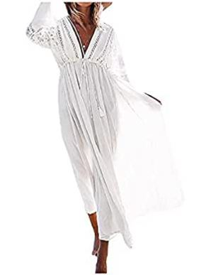 Women's Rayon Lace Swimsuit Cover up Tunic Long Maxi Dress