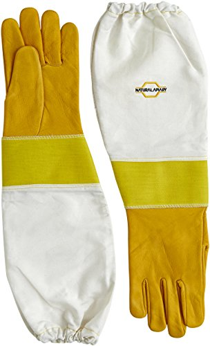 NATURAL APIARY - Cowhide - Beekeeping Gloves - Sting Proof Cuffs - Extra Long Extra Long Twill Elasticated Gauntlets - Large