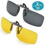 Splaks Clip-on Sunglasses, Unisex Polarized Frameless Rectangle Lens Flip Up Clip on Prescription Sunglasses Eyeglass, 2-Piece Clip on Glasses + Night Vision Glasses - Black