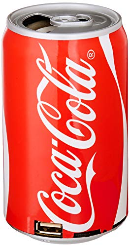 Coca-Cola Can Bluetooth Speaker, with FM Radio, Micro SD Card, USB, Aux Capabilities, 400mAh Polymer Battery, USB Charging Cable and Audio Cord Included