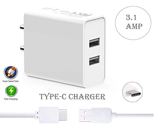 416He zDcnL - Lakshika Type C Dual Port Usb Fast Charger for Xiaomi Mi 10 5G Charger Adapter Wall Charger | Type-C Charger Cable Fast Charging Mobile Charger | Fast Charger | Android Charger with 1 Meter USB Type-C Charging Data Cable (2.1 Amp, White)