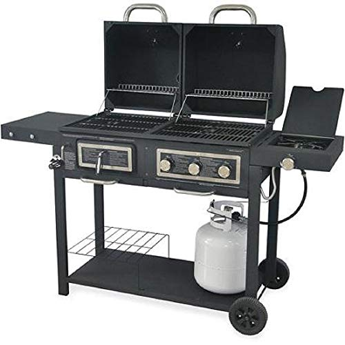 Durable Outdoor Barbeque & Burger Gas/charcoal Grill Combo Comes with a Chrome Plated Warming Rack and a Porcelain Heat Plate,3-burner Grill with Integrated Ignition and Also Has a Handy Tool Holders