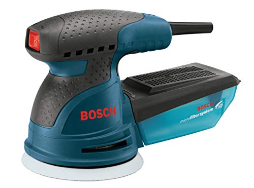 Bosch ROS20VSK Palm Sander - 2.5 Amp 5 in. Corded Variable Speed Random Orbital Sander/Polisher Kit with Dust Collector and Hard Carrying Case