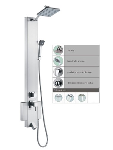 """Blue Ocean 48"""" Stainless Steel SP822322 Shower Panel Tower with Rainfall Shower Head and Spout"""
