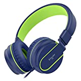 Elecder i36 Kids Headphones Children Girls Boys Teens Foldable Adjustable On Ear Headsets 3.5mm Jack Compatible iPad Cellphones Computer Kindle MP3/4 Airplane School Tablet Blue/Green