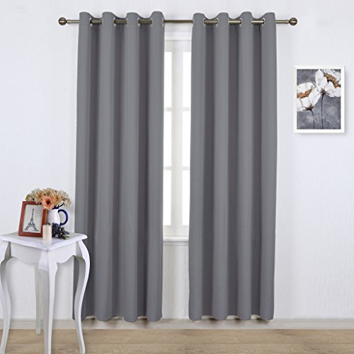 Nicetown Three Pass Microfiber Noise Reducing Thermal Insulated Solid Ring Top Blackout Window Curtains / Panels / Drapes (Two Panels,52 x 84 Inch,Gray)
