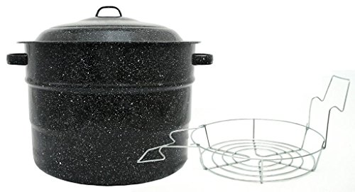 Granite Ware Steel/Porcelain Water-Bath Canner with Rack, 21.5-Quart, Black