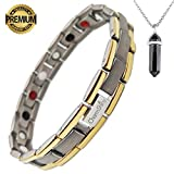Titanium Magnetic Bracelet Therapy with 4 Element for Men/Women Arthritis Pain Relief Carpal Tunnel Insomnia+Hematite Pendant Necklace(Powerful Set)