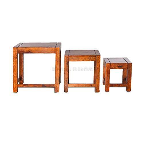 Woodlab-Furniture-Sheesham-Wood-Nesting-Bedside-End-Table-Set-of-3-Stools-for-Living-Room-Teak-Finish