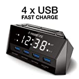BEARE Alarm Clock Charging Station - w/Quad USB Port for iPhone/iPad/iPod/Android Phone,Tablet and All USB-Charged Devices