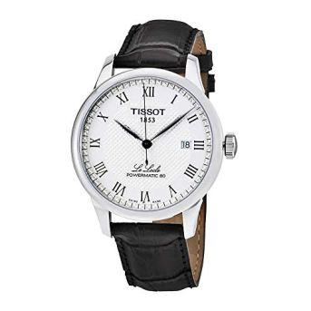 Tissot Powermatic 80 Silver Dial Black Leather Strap Men's Watch T0064071603300
