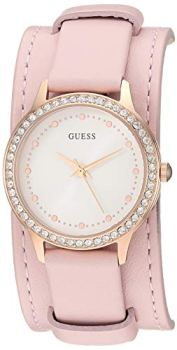 GUESS Rose Gold-Tone + Pink Genuine Leather Cuff Watch. Color: Pink (Model: U1150L3)