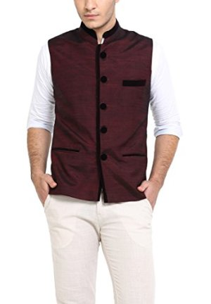 Shaftesbury London Men's Solid Cotton Bandhgala Ethnic Nehru Jacket Waistcoat (Maroon,Parent)