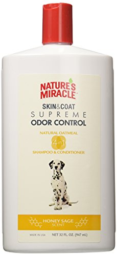 Nature's Miracle Natural Oatmeal Shampoo And Conditioner For Dogs, Honey Sage Scent 32 Ounces