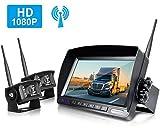ZEROXCLUB Wireless Rear View Camera Kit,1080P FHD Car Backup Camera IP69 Waterproof Night Vision Reverse Camera Monitor for Van RV Truck Trailer