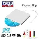 External Blu Ray DVD Drive Reader, Portable Ultra Slim USB 3.0 Blu Ray BD Reader,DVD CD Burner Player Writer Reader Disk for Mac OS, Windows 7/8/10,Linxus, Laptop (Silver)