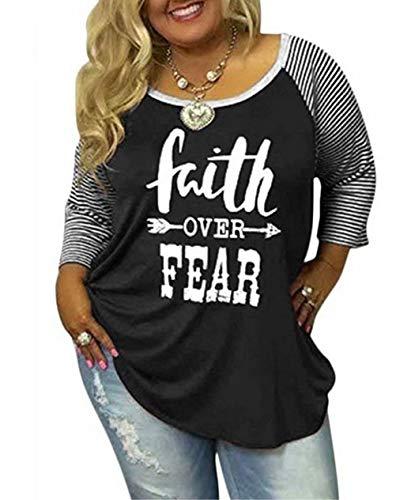 e098e27a Women's Plus Size Faith Over Fear Christian Shirt -