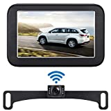 Emmako Wireless Backup Camera and 5'' Monitor System for Cars IP68 Waterproof 6 LED Light Night Vision HD Color Rear/Front View Camera with Guide Lines On/Off