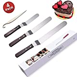 Icing Spatula Angled, Offset Cake Spatula Set with Wooden Handle, 6-Inch, 8-Inch, 10-Inch, Professional Stainless Steel Cake Decorating Tools by TAOQI Cake Stripping Tool