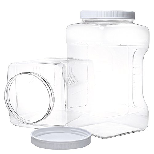 2 Pack Gallon Jars with Lids - Large Empty Plastic Storage Container - BPA Free