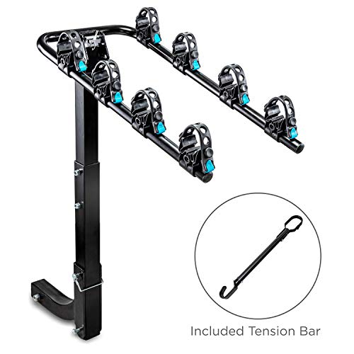 Hitch Mounted 4 - Bike Rack Carrier, Sturdy Bicycle Swing Rack with Tension Bar Included - Fits 2' Receiver - Foldable Design for Extra Convenience - Durable Powder-Coated Steel - Easy Assembly