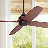 52' Impel Mission Outdoor Ceiling Fan Oil Rubbed Bronze Walnut Wood Damp Rated for Patio Porch - Casa Vieja
