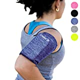 Phone Armband Sleeve Arm Band: Best Running BLUE Sports Strap Holder Pouch Case Bag for Exercise Workout Fits iPhone 6 6S 7 8 X Plus iPod Android Samsung Galaxy S5 S6 S7 S8 S9 Note 5 Pixel LG (MEDIUM)